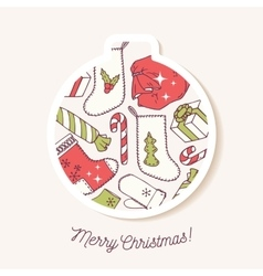 Christmas bauble sticker with christmas hand drawn vector