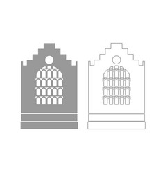 church building grey set icon vector image vector image