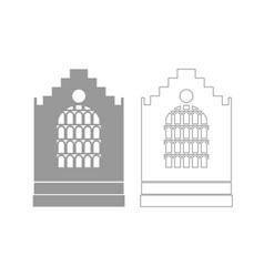 Church building grey set icon vector