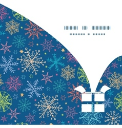 colorful doodle snowflakes Christmas gift box vector image