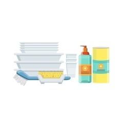 Dishwashing Household Equipment Set vector image