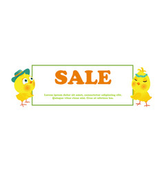 Easter sale poster with funny chick vector