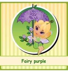 Fairy purple - cute girl closeup vector image