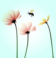 Flowers with flying bee vector image
