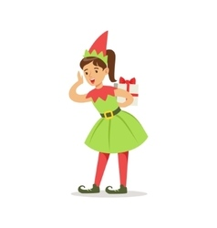 Girl in pointy shoes with gift dressed as santa vector