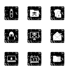 Hacking icons set grunge style vector