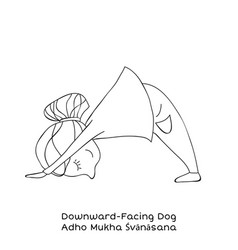 Kid yoga pose downward facing dog vector