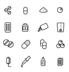 line pills icon set vector image vector image