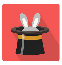 Magician hat with a rabbit icon flat style with vector
