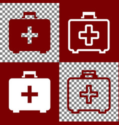 Medical first aid box sign bordo and vector