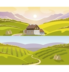 Mountain landscape banner set vector