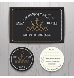 Nautical sea anchor wedding invitation and rsvp vector