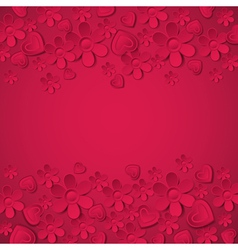 red valentine background with many flowers vector image