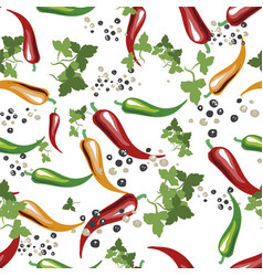 Red yellow and green chili peppersgreen leavs vector