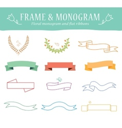 Retro vintage elements set with ribbons vector