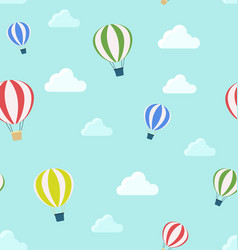 seamless pattern of air balloons and clouds vector image