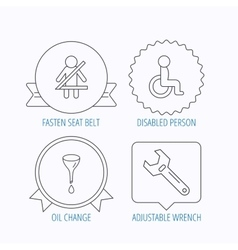 Seat belt oil change and wrench tool icons vector image vector image