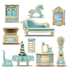 Shabby chic interior furniture and christmas tree vector