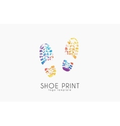 Shoe print logo color shoe print creative logo vector