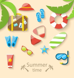 Summer vacation time with flat set colorful simple vector