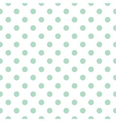Tile pattern mint polka dots white background vector