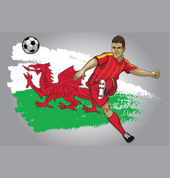 Wales soccer player with flag as a background vector