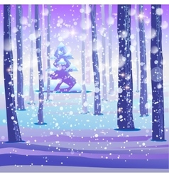 Winter magic forest background vector