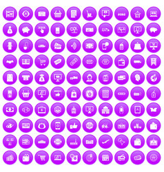 100 shopping icons set purple vector image vector image