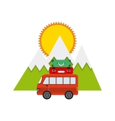 Travel car vehicle icon vector