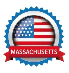 Massachusetts and usa flag badge vector