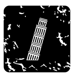 Pisa tower icon grunge style vector