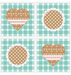 Floral background decorative patchwork hearts vector