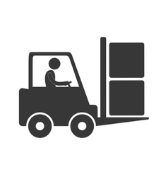 Worker driving forklift truck delivery box figure vector