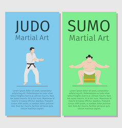 Asian martial arts judo and sumo vector