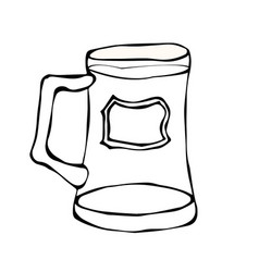 Glass of beer doodle style isolated on white vector