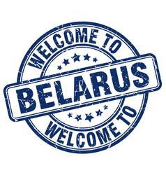 Welcome to belarus blue round vintage stamp vector