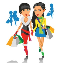 Girls and Shopping vector image