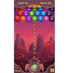 Bubbles shooter game screen vector