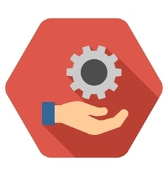 Engineering service flat hexagon icon with long vector