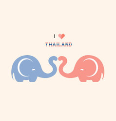 I love thailand with cute elephants vector