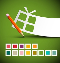 Paper gift box and pencil with colorful squares on vector