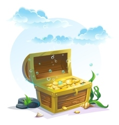 Chest of gold in the sand under the blue clouds vector image