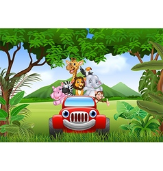Cartoon animals africa in the red car vector image