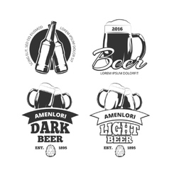 Vintage craft beer brewery emblems labels vector