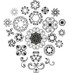 Decorative vintage flower set vector