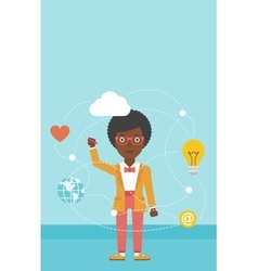 Business woman and cloud computing vector