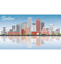 Boston Skyline with Gray Red Buildings vector image