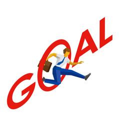 Businessman jump throw letter o in word goal vector