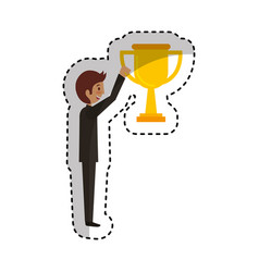 Businessman with trophy avatar character icon vector