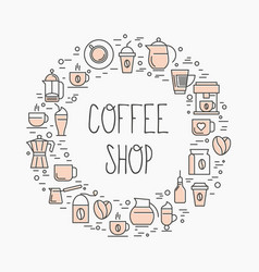 Coffee shop concept set of coffee vector